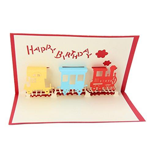 Dabixx Geburtstag Valentines Party Geschenk 3D Zug Grußkarte Pop Up Paper Cut Postkarte Zug 10x15 cm