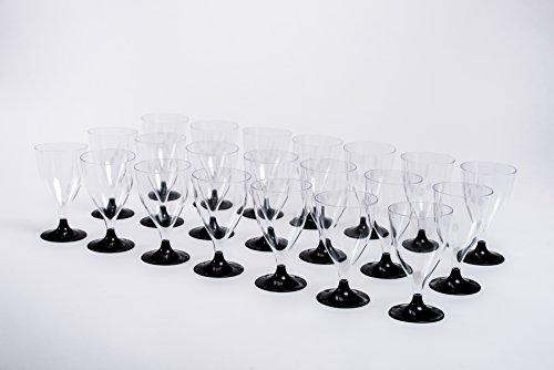 Zimbelmann Einweg-Weingläser –schwarzer Fuß –einzigartiges Design–einfache...