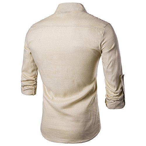 2017 Neu Sunshey Herren Langarmes Hemd B17 mit Stehkragen und Knöpfen, Leinen und Einfarbig Freizeithemd Causal und Modern Khaki