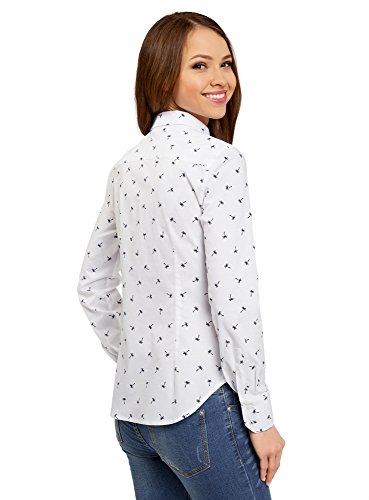 oodji Ultra Donna Camicia Basic in Cotone Bianco (1079Q)