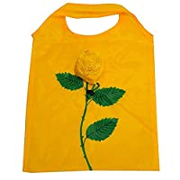 Rose Flower Pattern Reusable Shopping Grocery Tote Bag Yellow