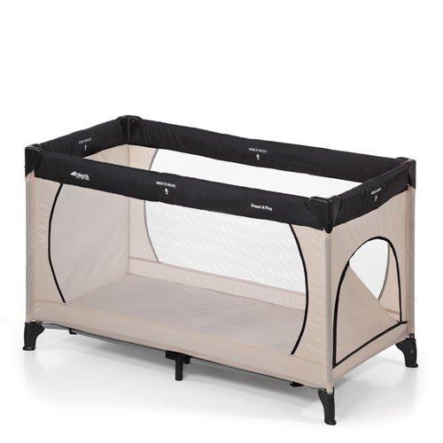 Hauck Kindereisebett Dream N Play Plus inklusive Matratze, seitlichem Reißverschluss, und Transporttasche, 120 x 60 cm, ab Geburt, tragbar, faltbar und klappbar, grau (beige grey)