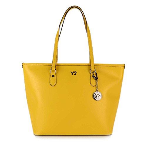 Borsa Shopping grande in pelle Y Not - 797-B colore Giallo Multicolor