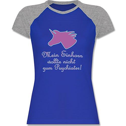 Sprüche - Einhorn - mein Einhorn wollte nicht zum Psychiater - zweifarbiges Baseballshirt / Raglan T-Shirt für Damen Royalblau/Grau meliert