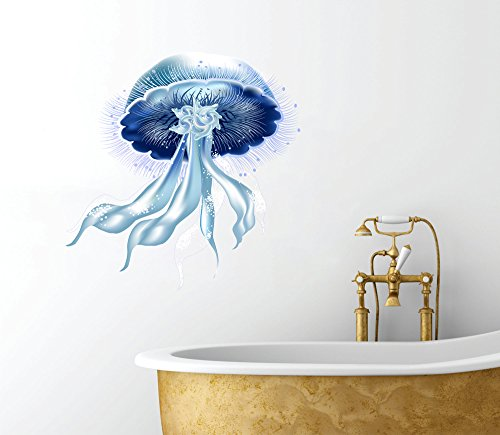 VinMea Jellyfish - Intricate Whimsical Design - Bathroom Décor Wall Decal - 12