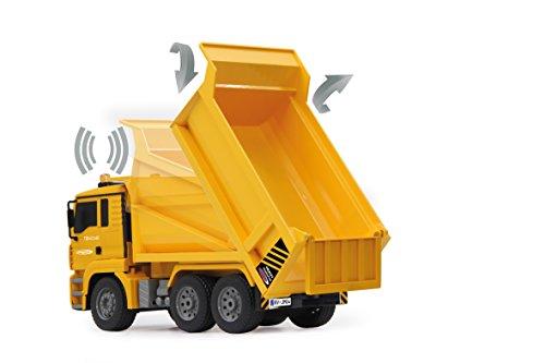 RC Auto kaufen Baufahrzeug Bild 6: Jamara 405002 - Muldenkipper MAN 1:20 2,4G - Kippmulde hoch / runter, realistischer Motorsound, Hupe, Rückfahrwarnsound, 4 Radantrieb, gelbe LED Signallichter, programmierbare Funktionen*