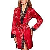 OverDose Damen Frauen Damen Cosplay Silk Kimono Dressing Babydoll Home Party Dessous Luxus Bademantel Nachtwäsche Kleid(Rot,EU-38/CN-XL)