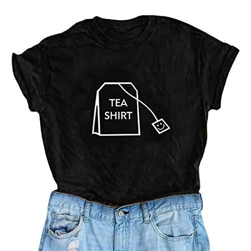 Skang Deman T-Shirt Große Größen Casual Mode O-Neck Einfarbig Briefdruck Kurzarm Oberteil Tops S-XXXL(XXXL,Schwarz)
