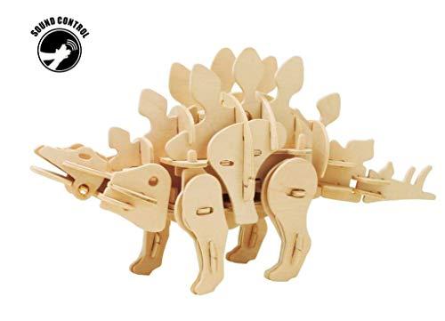 Holz-3D-Puzzles, R/C Sound Controlled Walking Robotic Dinosaurs Toy Model Kit, für Kinder oder Erwachsene (Stegosaurus),SoundControlled (Dinosaur Kit Model)