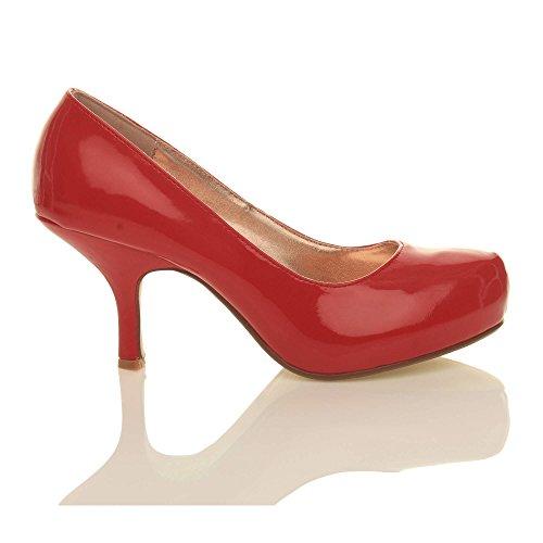 Femmes escarpins talon bas à moyen élégant travail soignée chaussures taille Rouge vernis