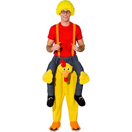 Huhn Henne Kostüm - NET TOYS Huckepack Kostüm Huhn   Trag Mich Hahn   Größe 1,80-1,95m   Aufsitz-Kostüm Henne   Reitkostüm Gockel