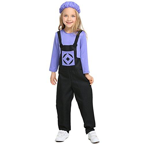 Despicable Mädchen Me Kostüm Minion - Costour Kinder Halloween Kostüm Böse Minions Jumpsuit Aufführung Party Einteilige Cosplay-Kleidung