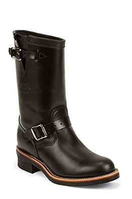 Chippewa 1901M48 boots bottines en cuir pour homme noir black whirlwind upper v-bar liège avec semelle vibram - Noir - Noir, 7,5 US-40 EU EU