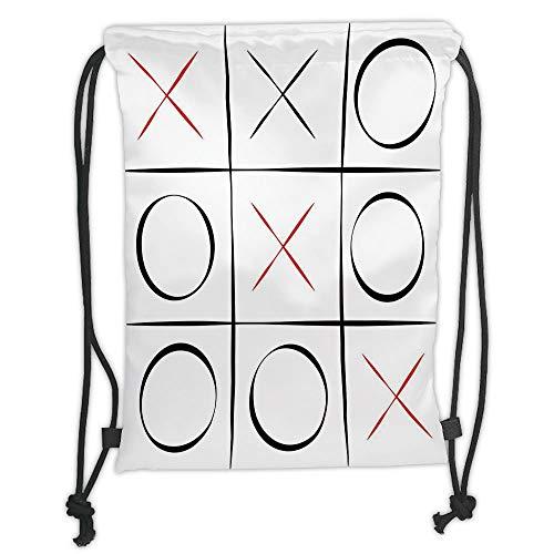 nted Drawstring Sack Backpacks Bags,Xo,Tic Tac Toe Simplistic Pattern Vertical Horizontal Lines Illustration Decorative,Vermilion Black White Soft Satinring Cl ()
