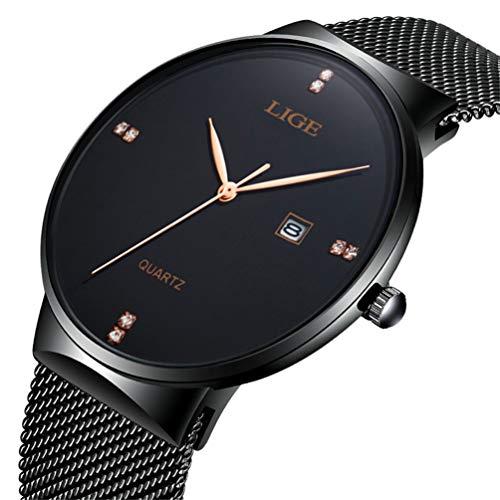 Marca LIGE Hombre Cuarzo Analógico Reloj Acero Inoxidable Malla Pulsera Simple Vestir Reloj 9801 Negro