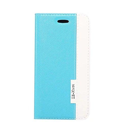 Cross Lines Texture Ultra Thin Slm Style PU Leder Schutzhülle mit Card Slots und Kickstand für iPhone X ( Color : Rose ) Blue