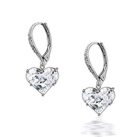 Invisible Heart Leverback Dangle Earrings CZ 925 Sterling Silver