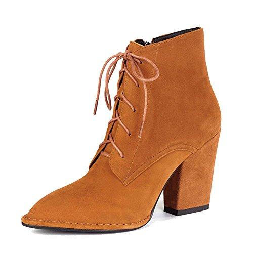 Retro Frau Dick Hoch Fersen Martin Stiefel Kurz Leder Gurt Niedrige Röhre Seite Reißverschluss Warm Knöchel Schuhe . Brown . 38 -