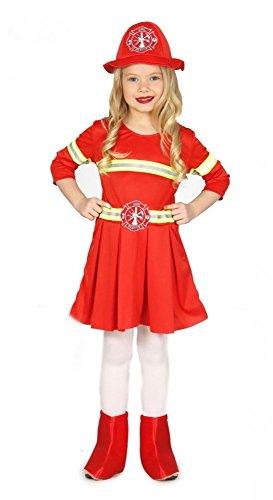shoperama Kinderkostüm Feuerwehrfrau für Mädchen Kleinkind Uniform Feuerwehr Hut Kleid, Kindergröße:104 - 3 bis 4 Jahre