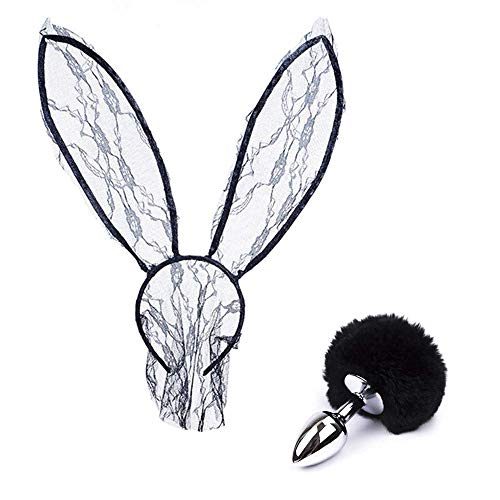 ꕤ Lace Rabbit Ears Headband & Taịl Veil Maṣk Toy Valentine's Day Present Black