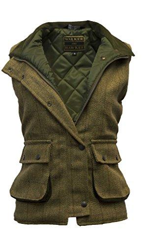 Damen Country-Weste aus Tweed - für die Jagd geeignet - Helles Salbeigrün - Größen 34 bis 50