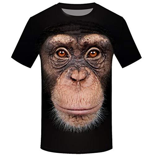 BURFLY Herren Orang-Utan Print Kurzarm Top, Sommer lässig Sport T-Shirt Pullover Fitness Top Street Wear