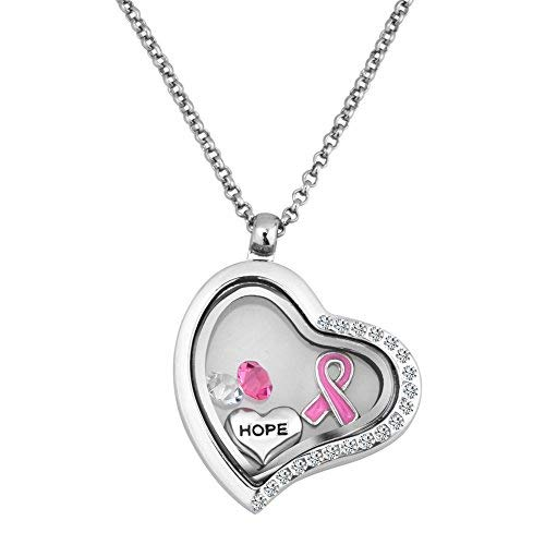 Brustkrebs Pink Ribbon Hope Living Herz Medaillon Halskette mit Kristall Floating Charms 45,7 cm Kette Geschenk Box (Mit Charms Kette Medaillon Floating Floating)