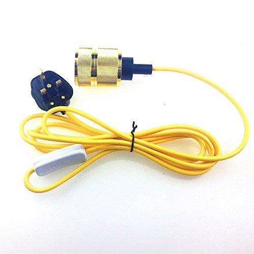 reachyea 3m (25Ft) von 2Core gelb Kabel mit An/Aus Schalter und E27Lampenfassung Yellow lamp holder (Plug-in Hängenden Laterne)