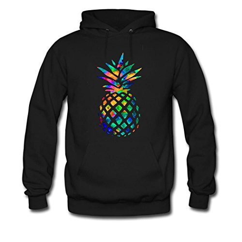 HGLee Printed Personalized Custom Colorful pineapple Women's Sweatshirts Hooded Hoodies Black--3