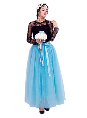 Honeystore Damen's Tüllrock Lang 5 Layer Prinzessin Kleider Lang Petticoat Ballettrock Maxi Unterrock Pettiskirt Lang One Size Himmelblau