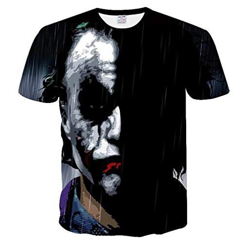 FEIMEI Männer Daily Plus Size T-Shirt - Skull Mesh Rundhals Schwarz/Kurzarm/Sommer,01,L (Skulls T-shirt Schwarz 20)