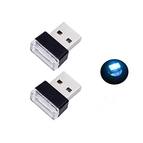 Bello Luna 2 pezzi USB Car Interior Ambient Lampada per auto Notebook Power Bank - Ice Blu
