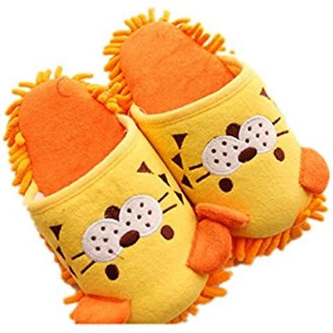 ReachTop Calore domestica Calore di inverno peluche pantofole, leone giallo - Leone Pantofole