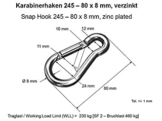 Karabinerhaken 100 x 10 mm Tragkraft 180 kg (2 Stück) (B00DC9ATOI) | Amazon price tracker / tracking, Amazon price history charts, Amazon price watches, Amazon price drop alerts
