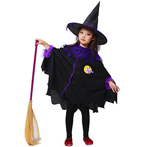 Pullover Halloween Kostüm Weste (Mädchen Halloween Kleid, SHOBDW Kleinkind scherzt Baby Mädchen Halloween Kleider Kostüm Kleid Party Umhang + Hut Outfit (2-3T,)