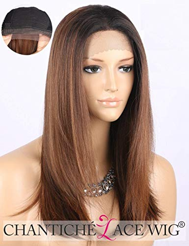 Full Lace Perücke (Chantiche Cheap Ombre Brown Lace Front Wig Dark Rooted Medium Length Straight Synthetic Hair Wigs for Women Heat Resistant)