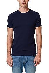 ESPRIT Herren 998EE2K816 T-Shirt, Blau (Navy 400), Large