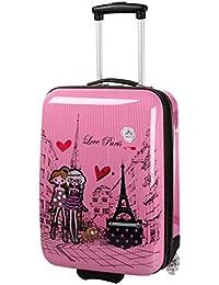 Maleta de cabina, color rosa para niña, diseño Paris Love