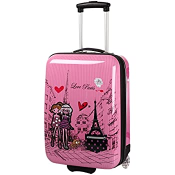 valise cabine rose pour fille motif paris love bagages. Black Bedroom Furniture Sets. Home Design Ideas