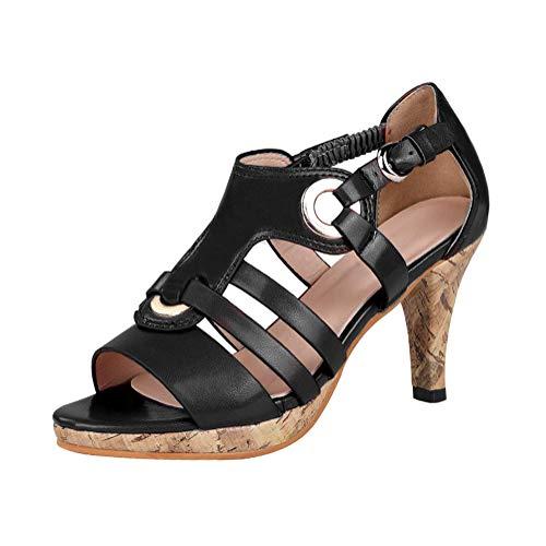Damen High Heels Sandalen Peep Toe Rockabilly Pumps Hochzeit Schuhe Abendschuhe mit Absatz Retro Roman Schuhe Elegant Sandalen Schwarz 37 EU -