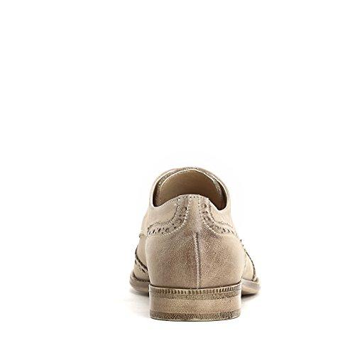 MARINA SEVAL by Scarpe&Scarpe - Schnürschuhe mit Lochmuster, Flache Schuhe, Leder Beige