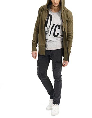 trueprodigy Casual Herren Marken Sweatjacke einfarbig Basic, Oberteil cool und stylisch mit Kapuze (Langarm & Slim Fit), Sweat Jacke für Männer in Farbe: Khaki 2682103-0629 Khaki