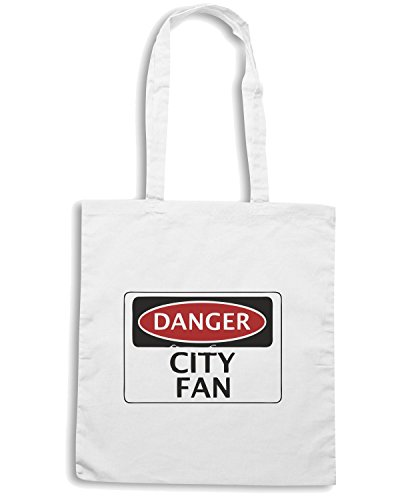 T-Shirtshock - Borsa Shopping WC0288 DANGER CITY FAN, FOOTBALL FUNNY FAKE SAFETY SIGN Bianco