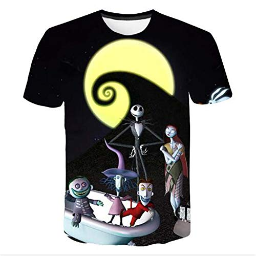 mmer Männer T-Shirts 3D Gedruckt Tier t-Shirt Kurzarm Lustige Design Casual Tops Tees Männlich,Halloween Puppe B schwarz 3XL ()