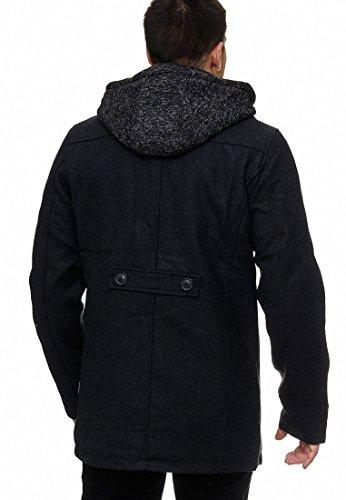 Indicode Herren Cliff Jacke Lange Jacke aus Hochwertiger Wollmischung mit Stehkragen Black M - 3