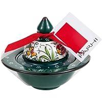 Rita Farhi Authentic Rose Turkish Delight Traditional  Hand Made Dark Green Ceramic Bonbonniere, 130g