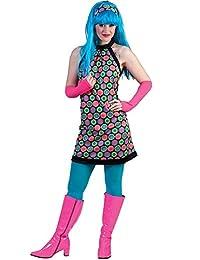 70er Jahre Retro Kostüm für Damen - Kleid und Stirnband