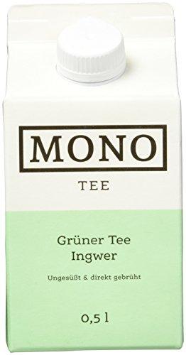 Tee Grüner Ingwer (Mono Tee Bio-Eistee Grüner Tee Ingwer, 8er Pack (8 x 500ml) ungesüßt, kalorienarm, direkt gebrüht - Ihre Alternative zu Wasser)