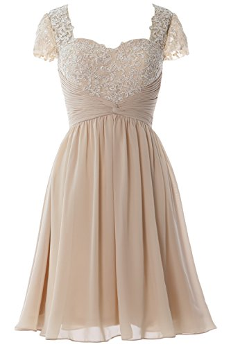 MACloth Women Cap Sleeve Cocktail Dress Short Lace Chiffon Mother of Bride Dress Champagner