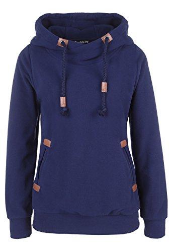 SUBLEVEL Damen Fleece Hoodie | Sportlicher Kapuzenpullover leicht tailliert | Kuscheliger Pulli mit Kapuze middle-blue S